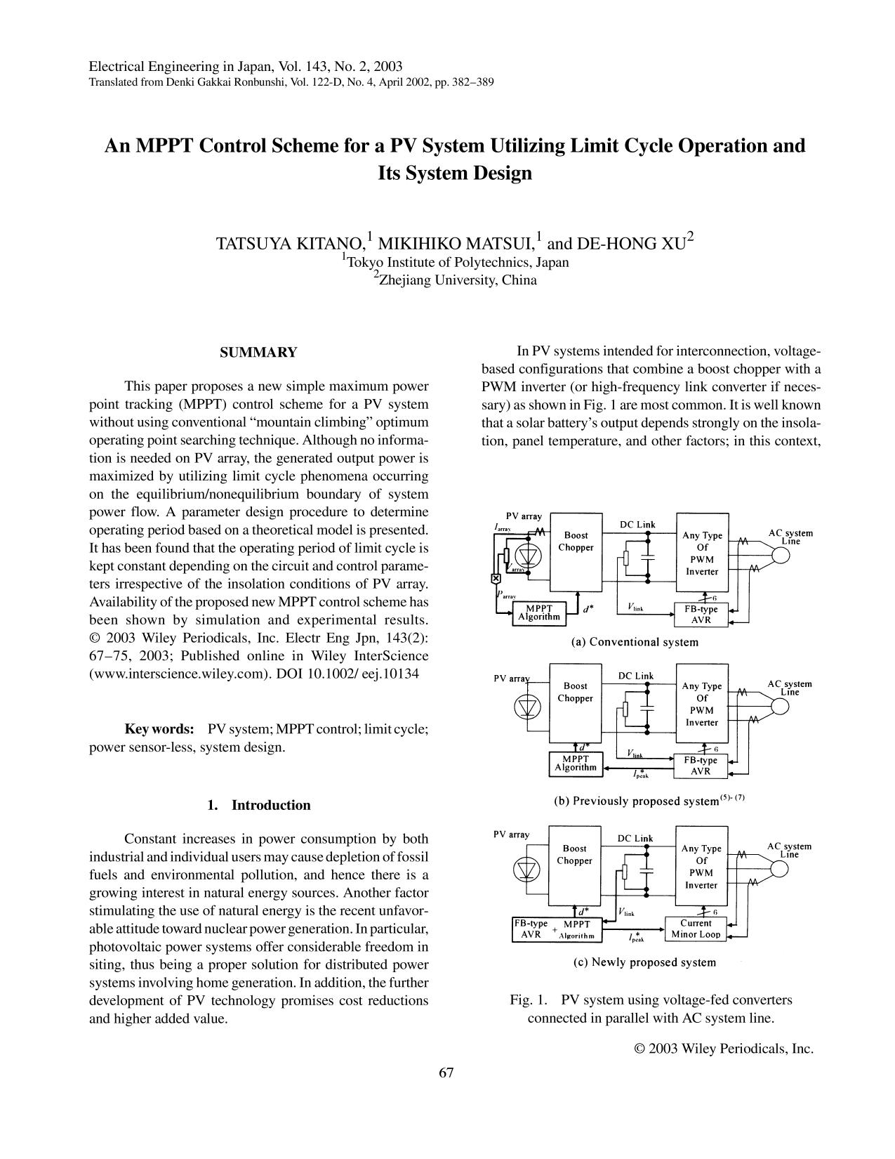 capa de livro An MPPT control scheme for a PV system utilizing limit cycle operation and its system design