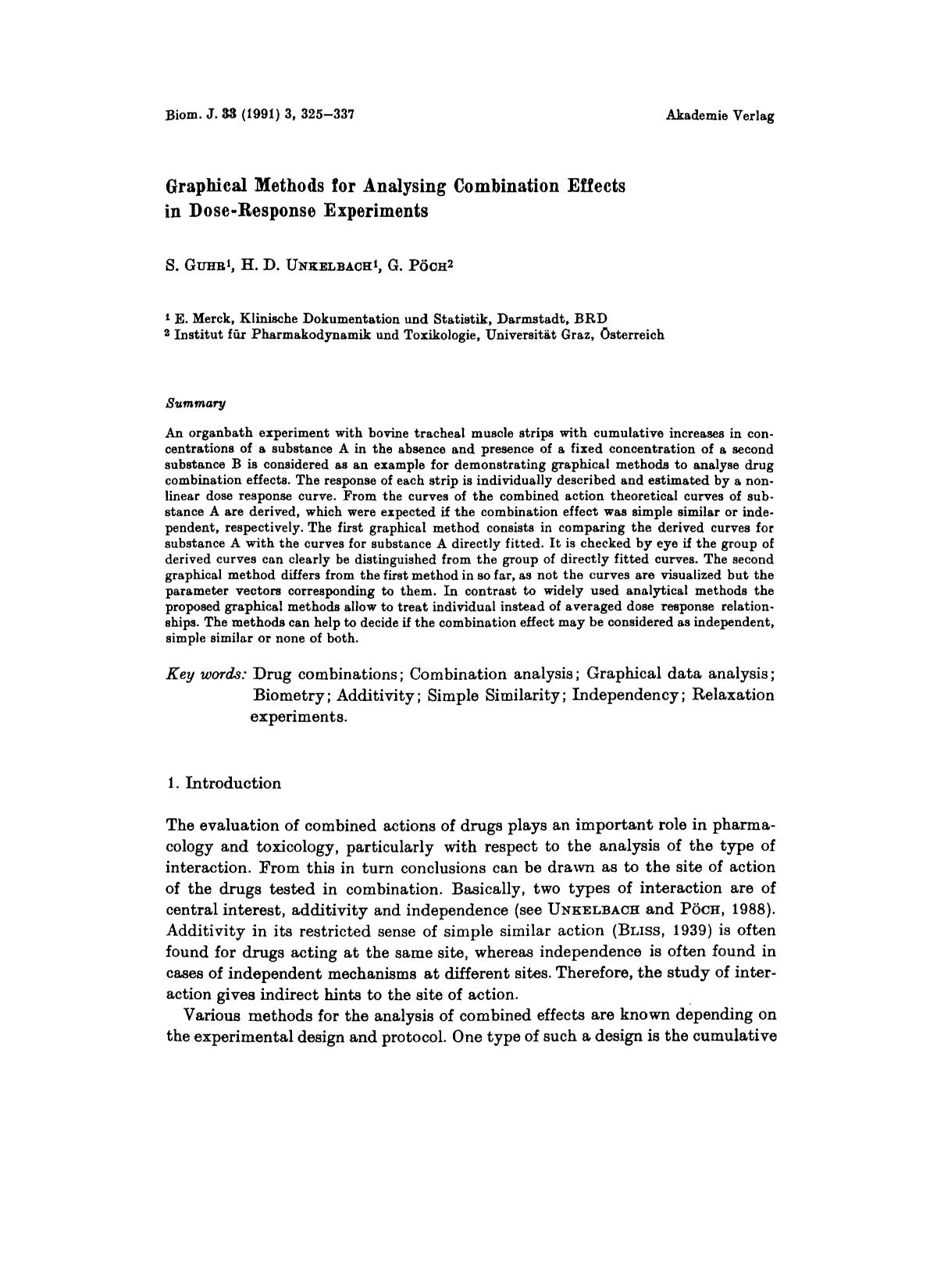 Copertina del libro Graphical Methods for Analysing Combination Effects in Dose-Response Experiments