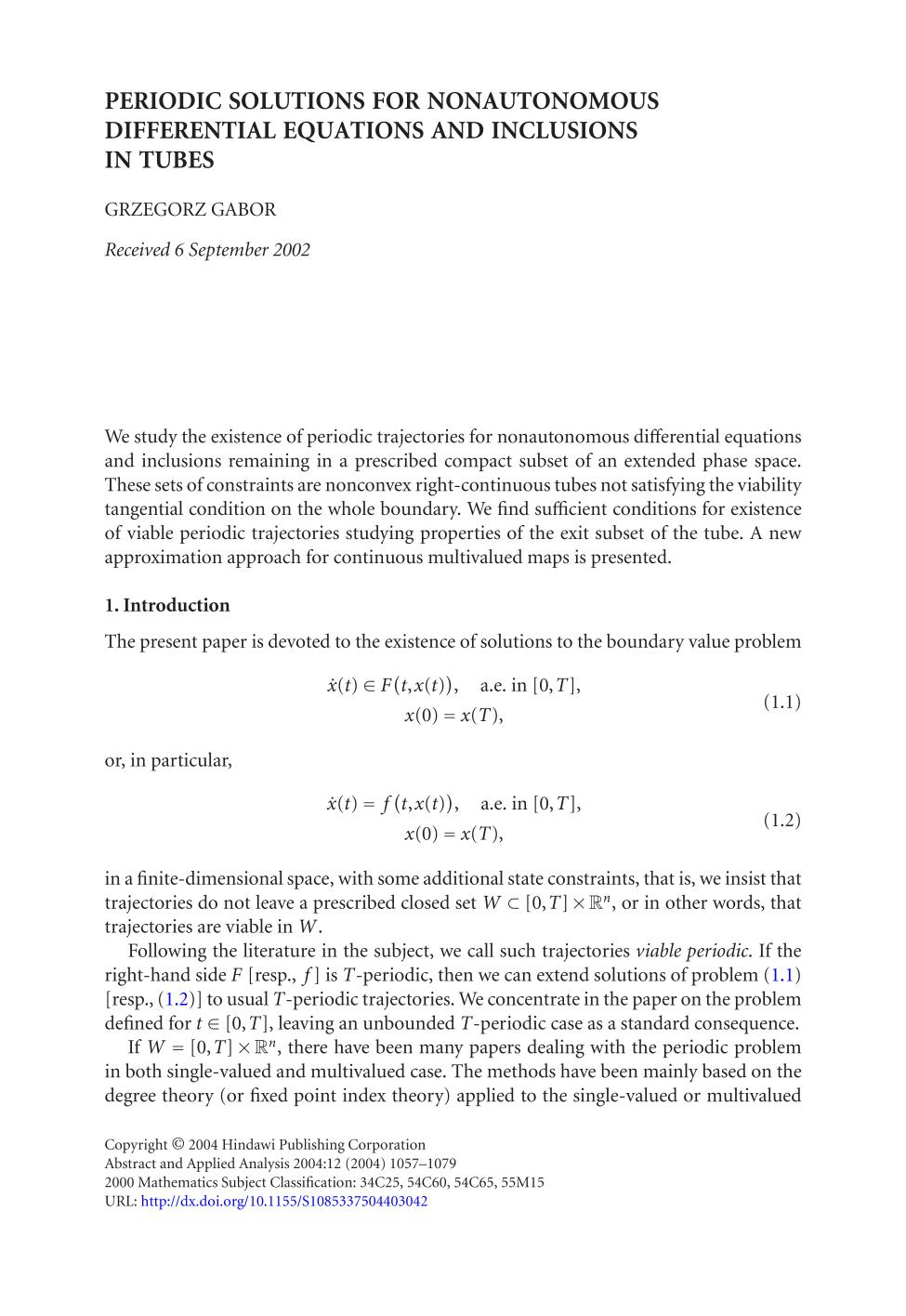 पुस्तक आवरण Periodic solutions for nonautonomous differential equations and inclusions in tubes