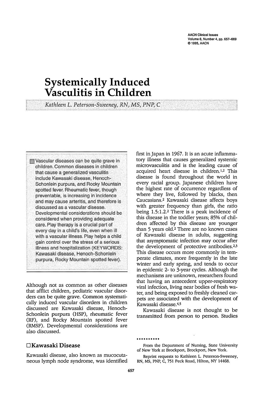 หน้าปก Systemically Induced Vasculitis in Children