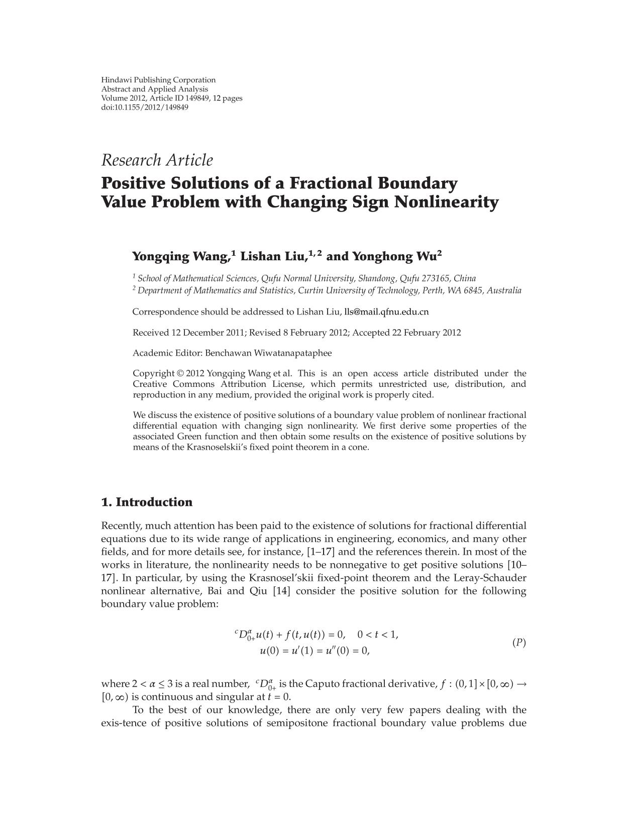 पुस्तक आवरण Positive Solutions of a Fractional Boundary Value Problem with Changing Sign Nonlinearity