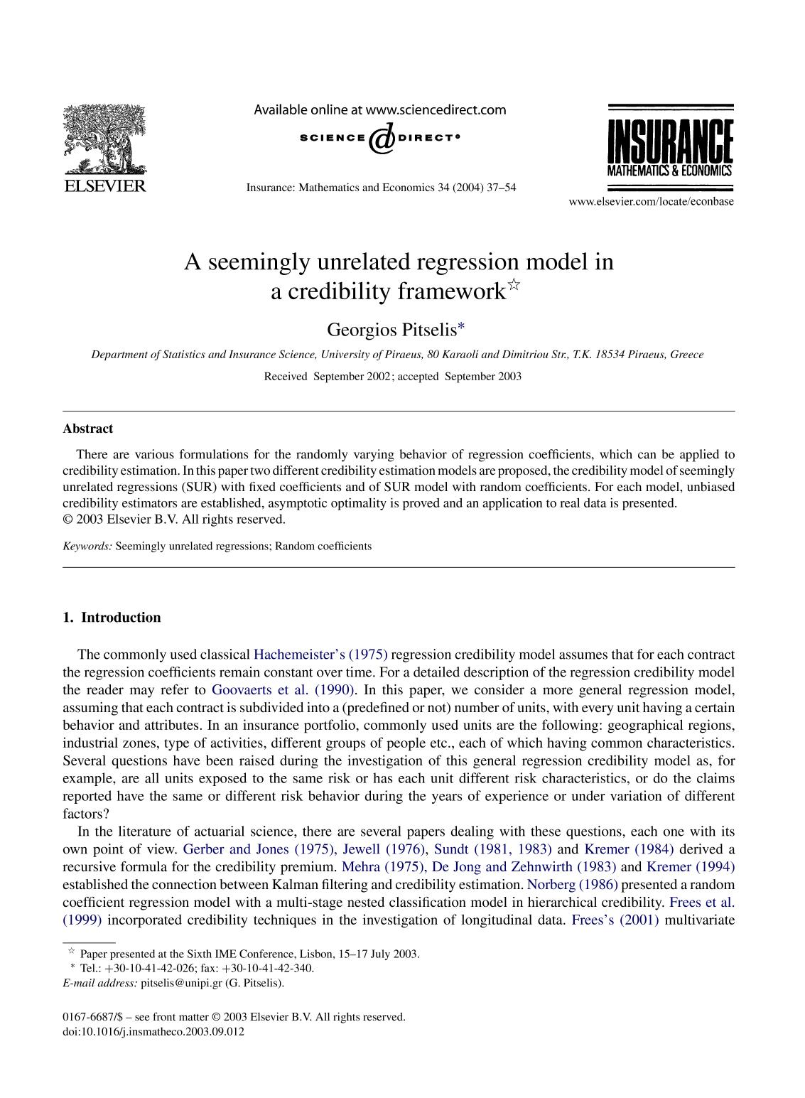 書籍の表紙 A seemingly unrelated regression model in a credibility framework