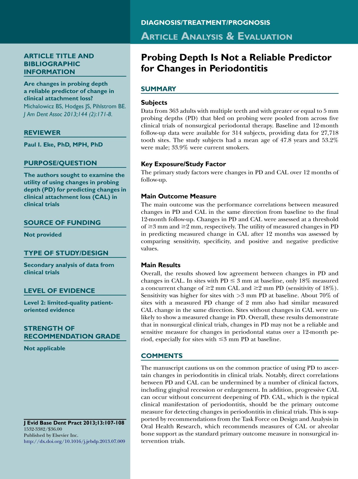 Portada del libro Probing Depth Is Not a Reliable Predictor for Changes in Periodontitis