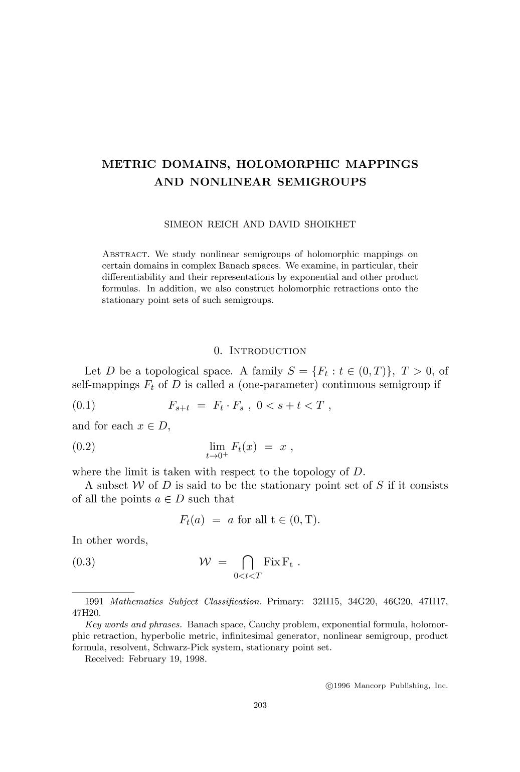 Couverture Metric domains, holomorphic mappings and nonlinear semigroups