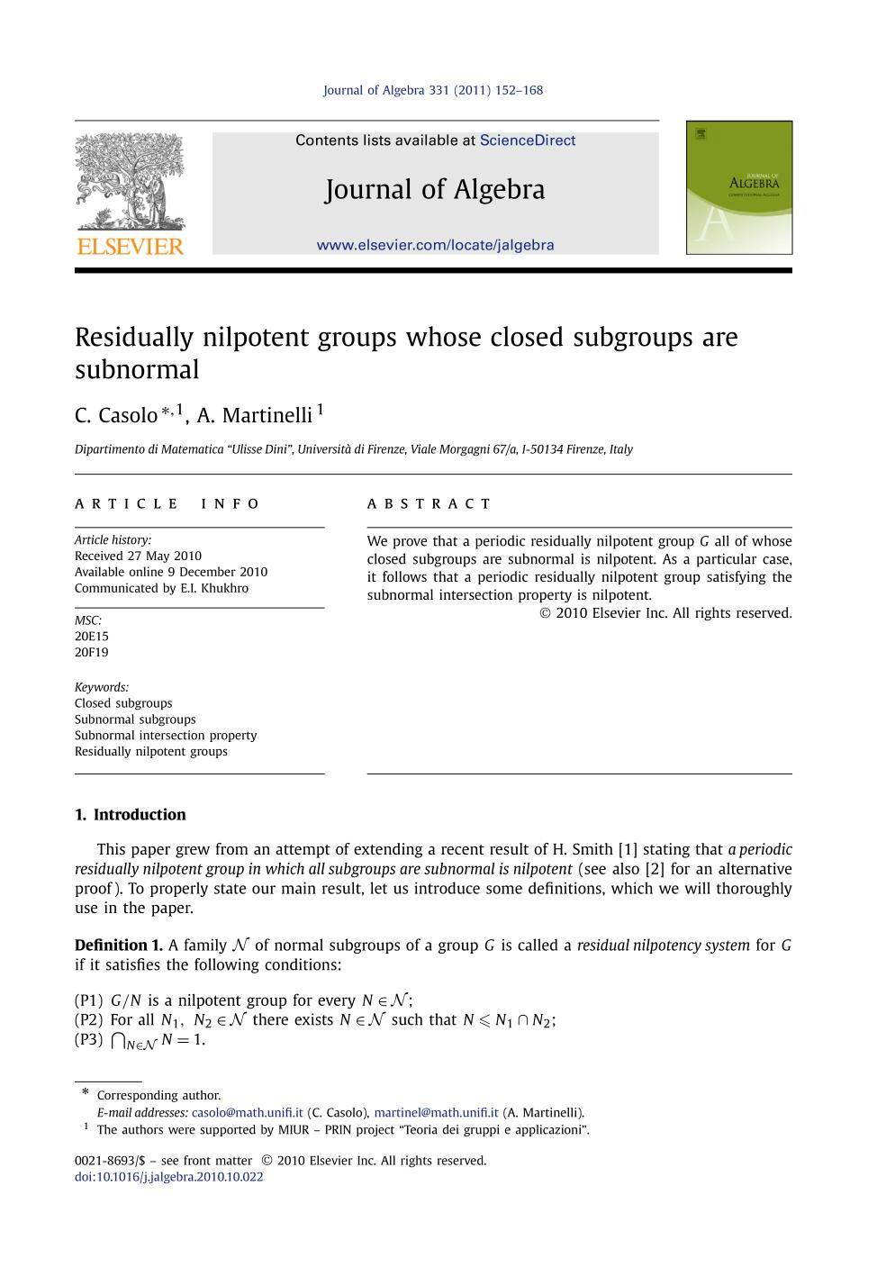 表紙 Residually nilpotent groups whose closed subgroups are subnormal