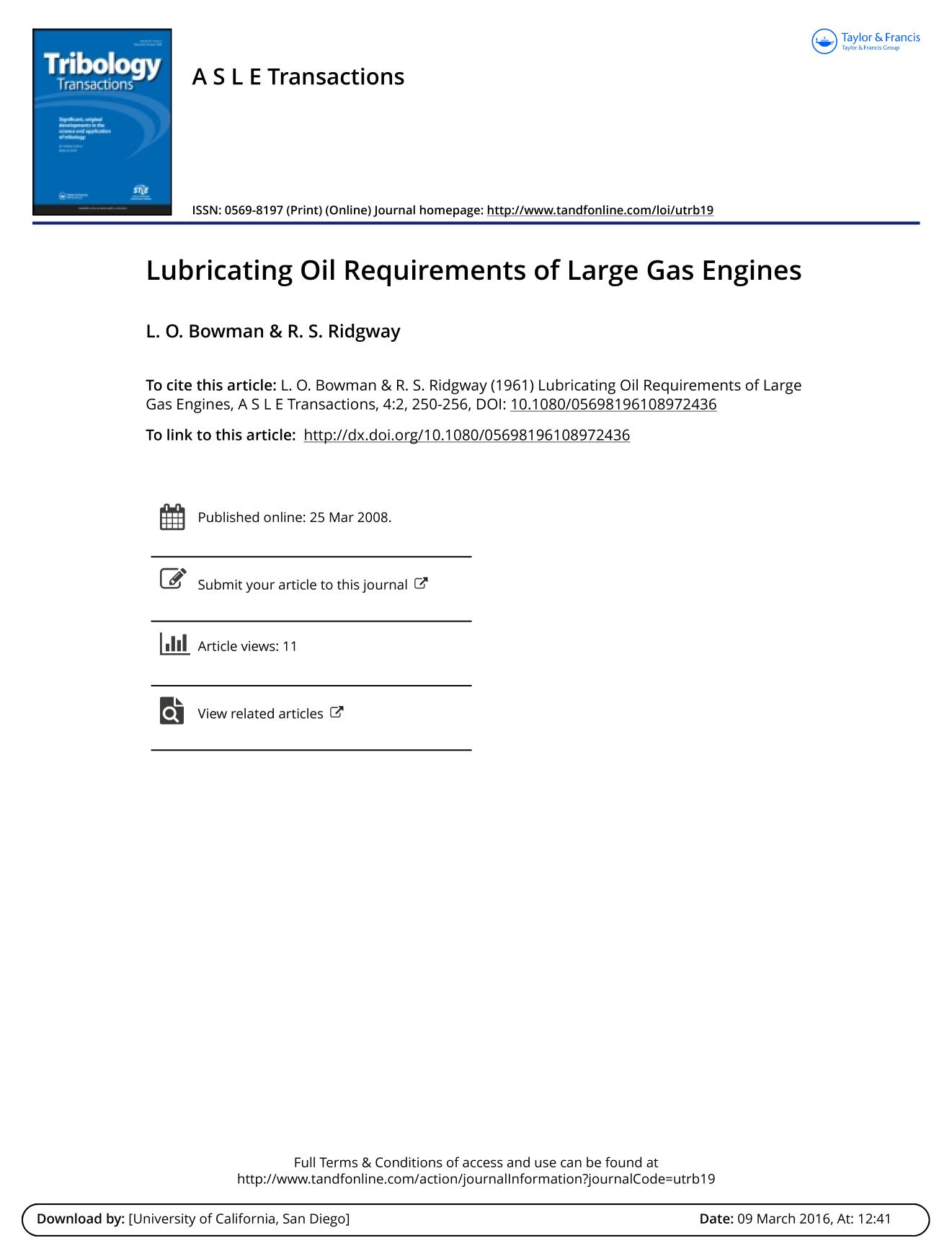 Portada del libro Lubricating Oil Requirements of Large Gas Engines