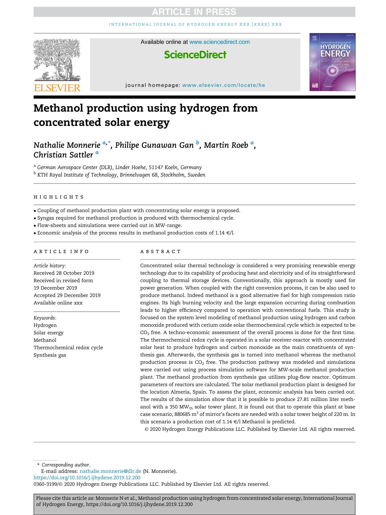Korice knjige Methanol production using hydrogen from concentrated solar energy