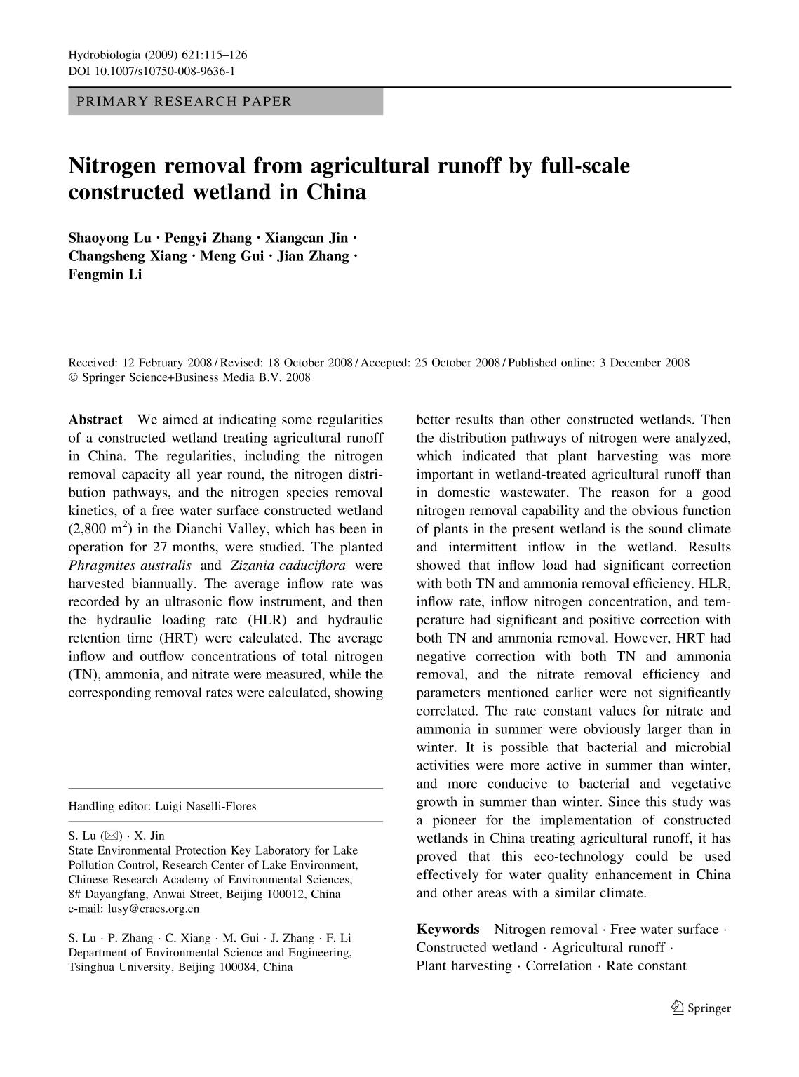 Portada del libro Nitrogen removal from agricultural runoff by full-scale constructed wetland in China