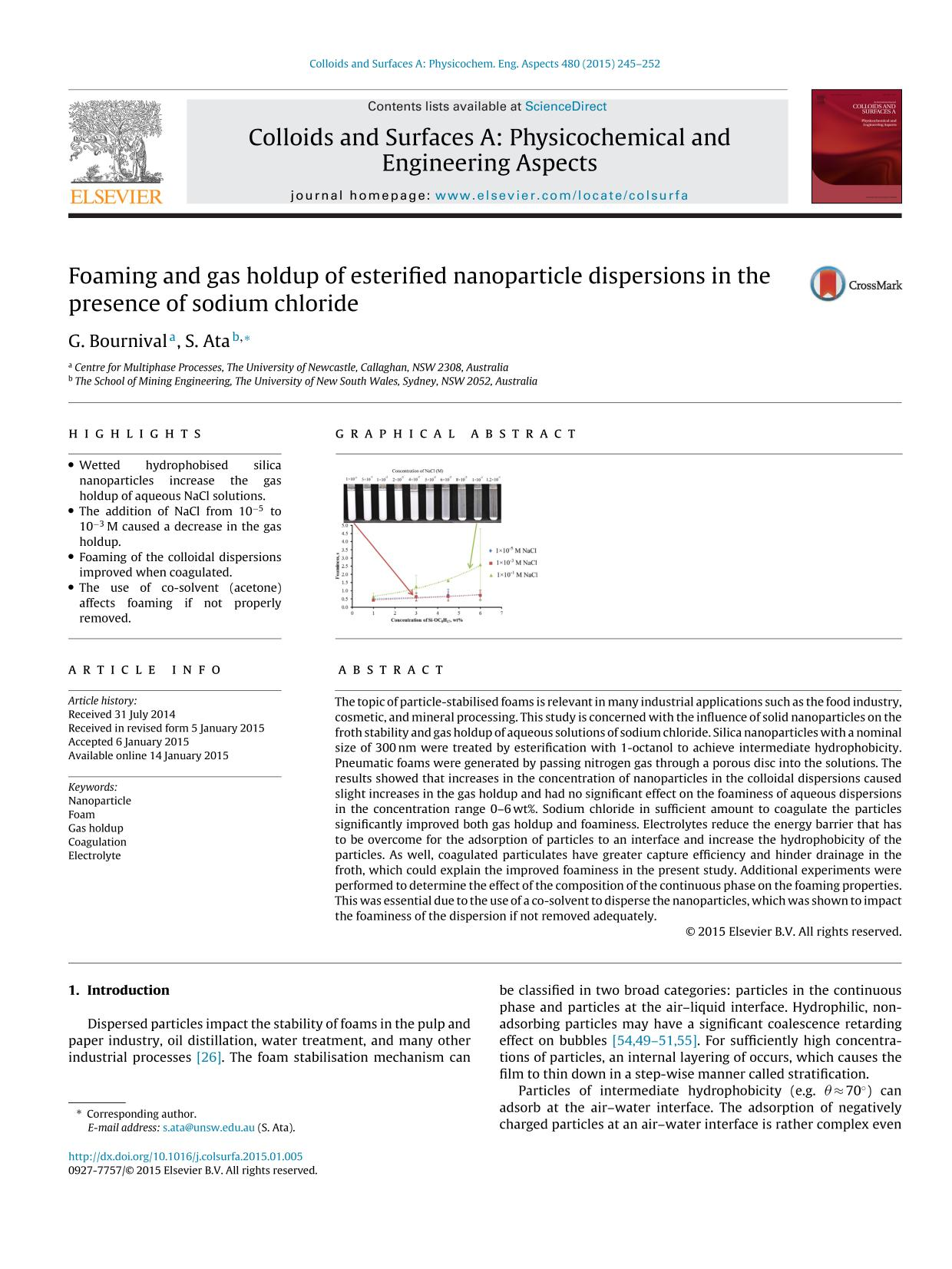 Обкладинка книги Foaming and gas holdup of esterified nanoparticle dispersions in the presence of sodium chloride