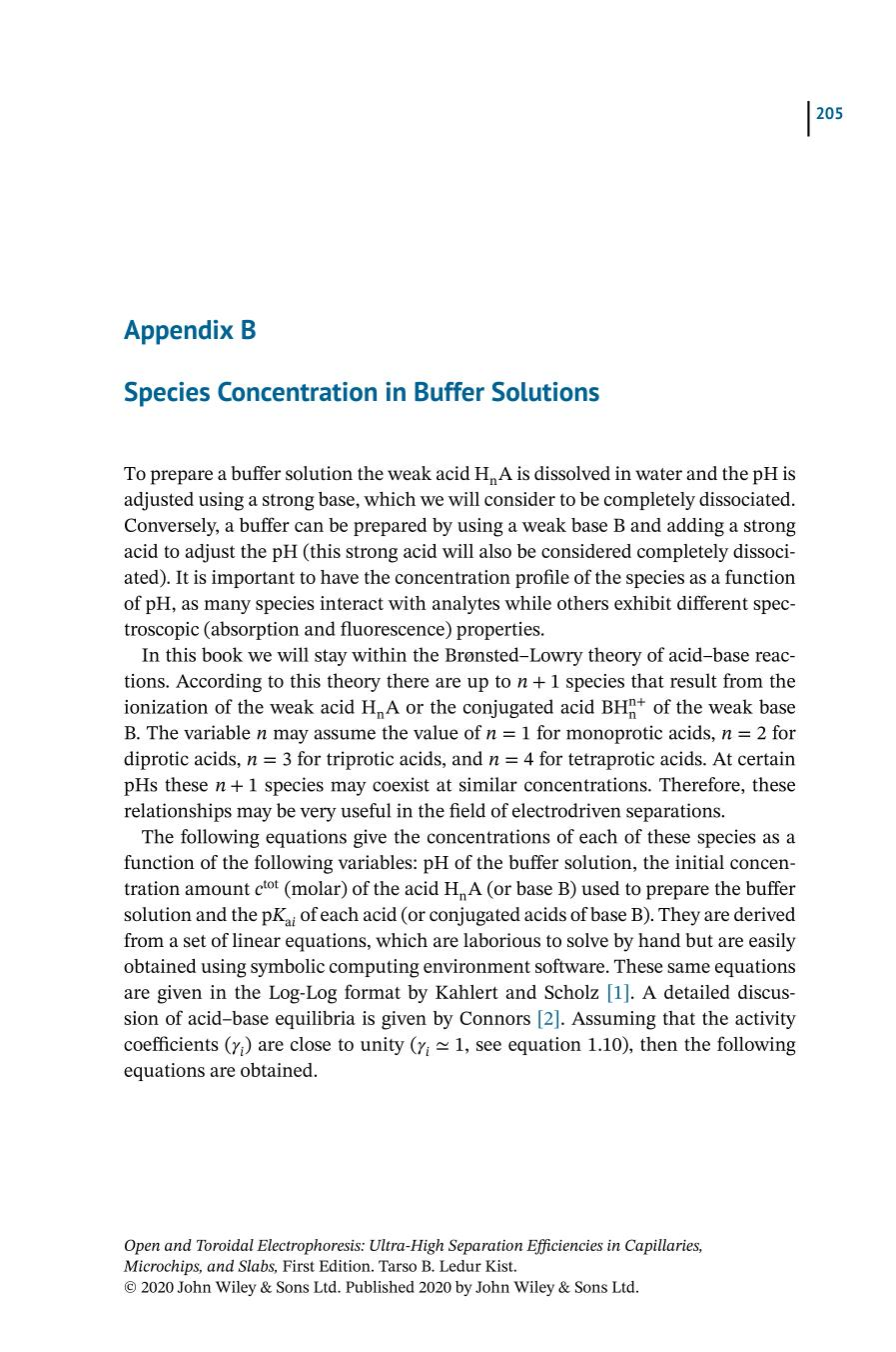 Sampul buku Open and Toroidal Electrophoresis (Ultra‐High Separation Efficiencies in Capillaries, Microchips, and Slabs) || Species Concentration in Buffer Solutions