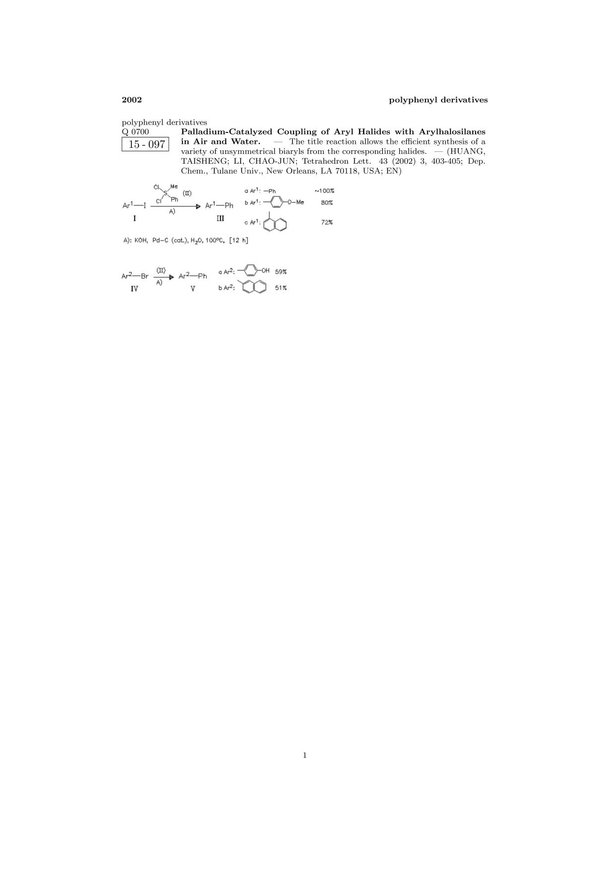 Обложка книги ChemInform Abstract: Palladium-Catalyzed Coupling of Aryl Halides with Arylhalosilanes in Air and Water.<span></span>