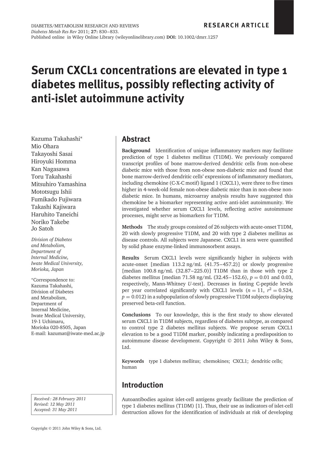 Sampul buku Serum CXCL1 concentrations are elevated in type 1 diabetes mellitus, possibly reflecting activity of anti-islet autoimmune activity