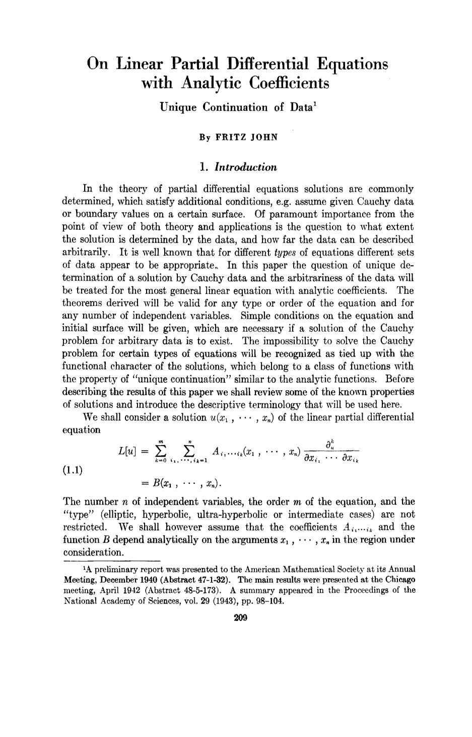 पुस्तक आवरण On linear partial differential equations with analytic coefficients unique continuation of data