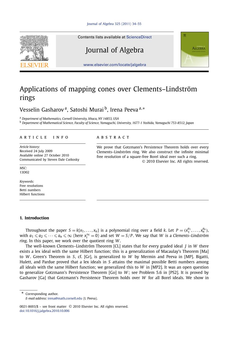 Book cover Applications of mapping cones over Clements–Lindström rings