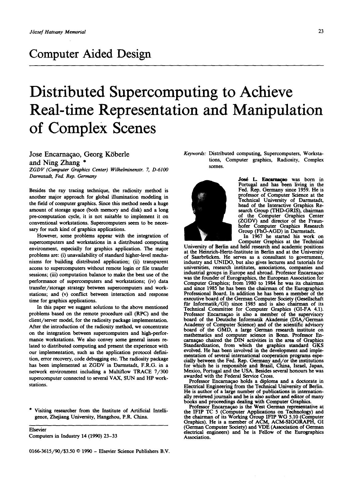 A capa do livro Distributed supercomputing to achieve real-time representation and manipulation of complex scenes