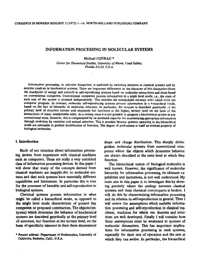 書籍の表紙 Information processing in molecular systems