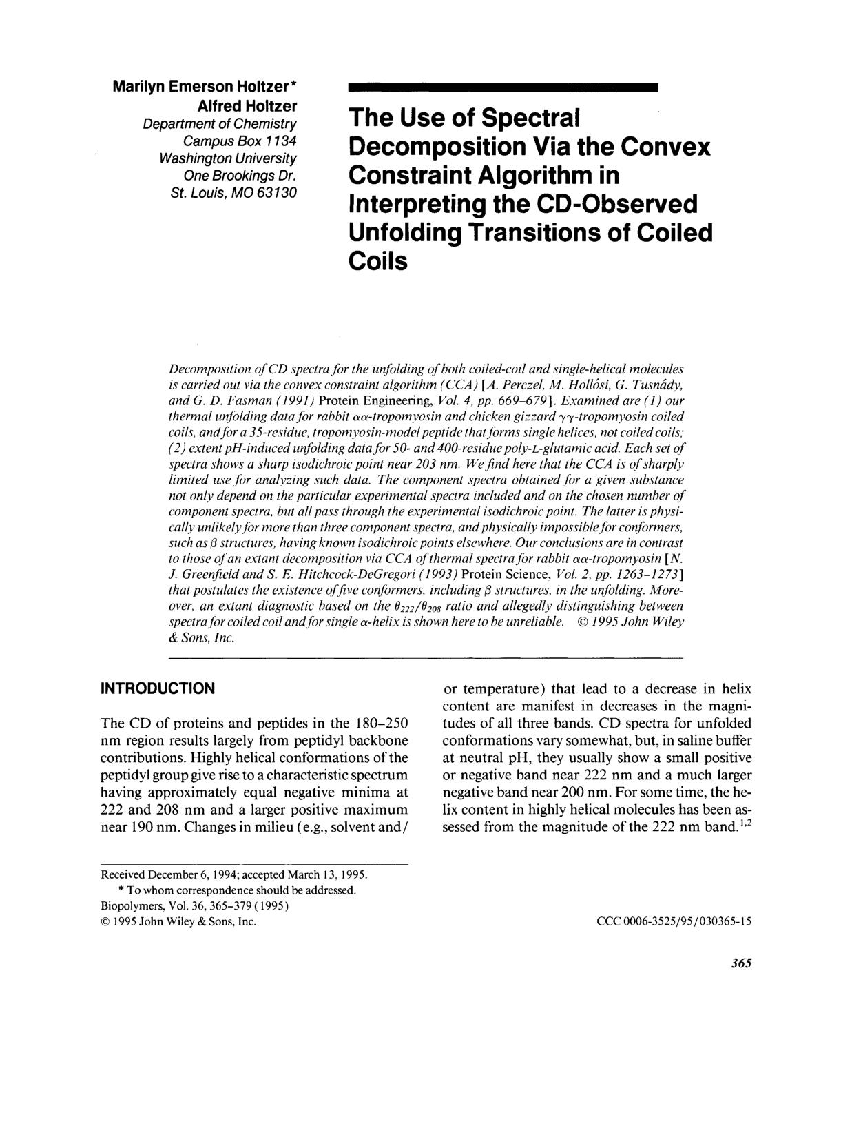 A capa do livro The use of spectral decomposition via the convex constraint algorithm in interpreting the CD-observed unfolding transitions of C coils