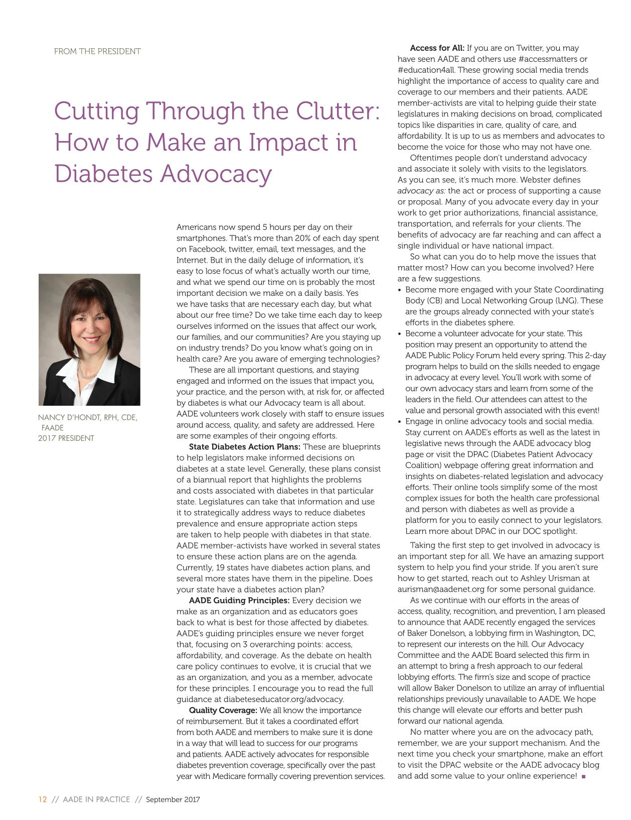 Portada del libro Cutting Through the Clutter: How to Make an Impact in Diabetes Advocacy