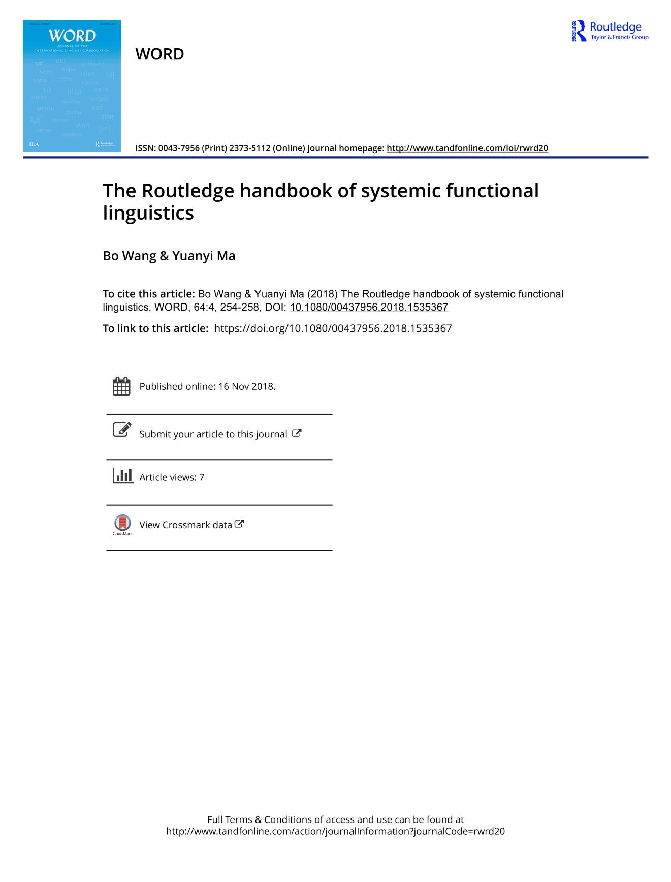 Okładka książki The Routledge handbook of systemic functional linguistics