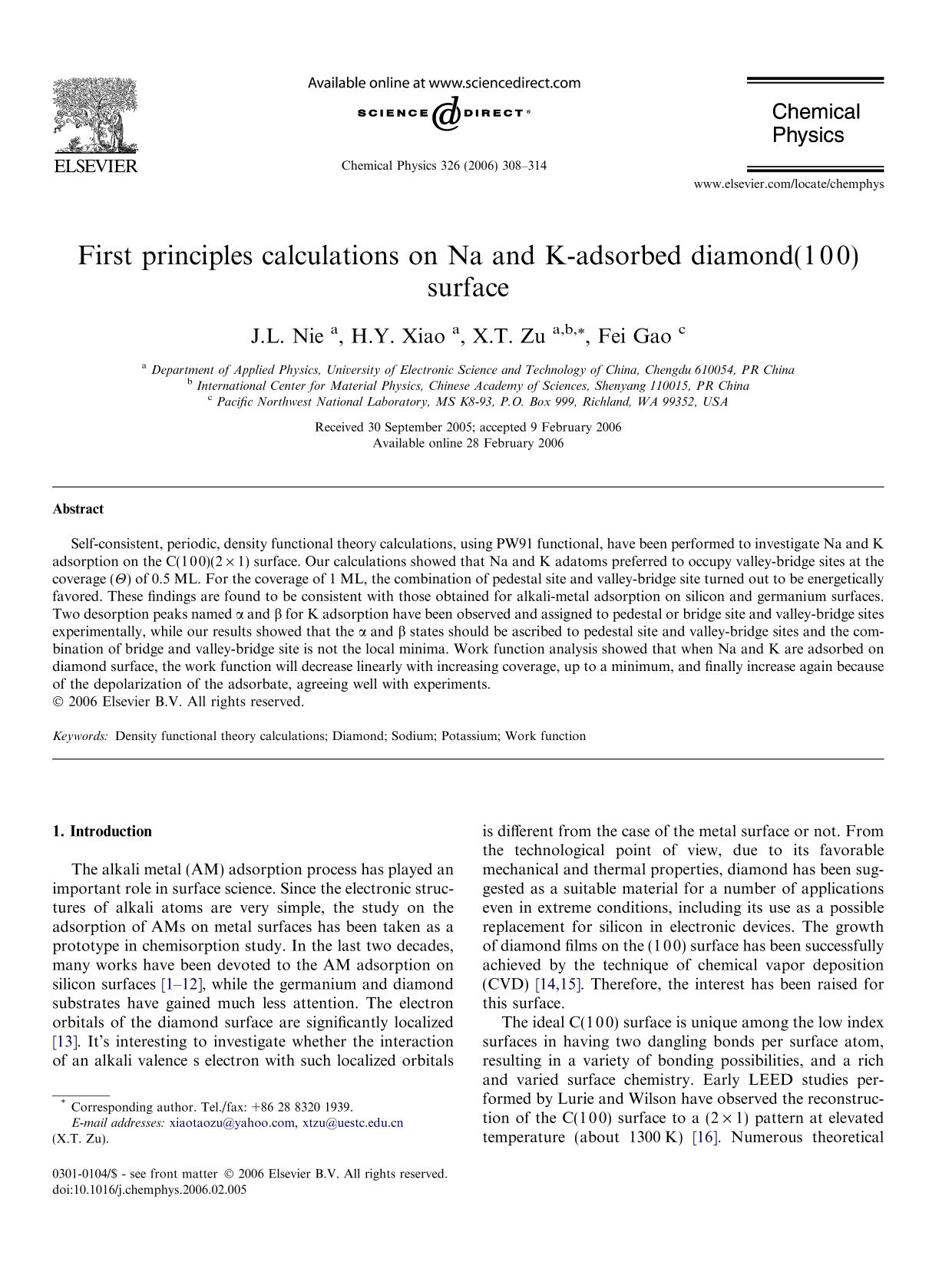 पुस्तक कवर First principles calculations on Na and K-adsorbed diamond(1 0 0) surface
