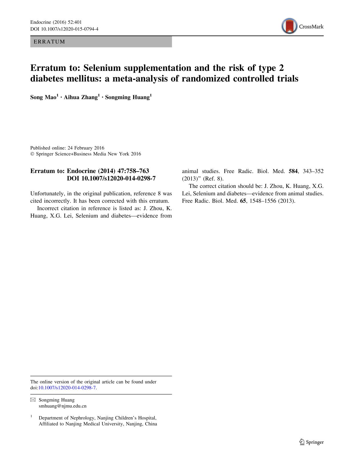 Okładka książki Erratum to: Selenium supplementation and the risk of type 2 diabetes mellitus: a meta-analysis of randomized controlled trials