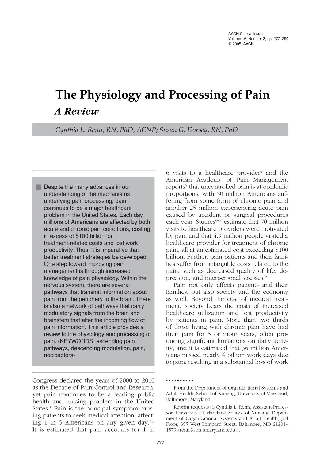 Κάλυψη βιβλίων The Physiology and Processing of Pain