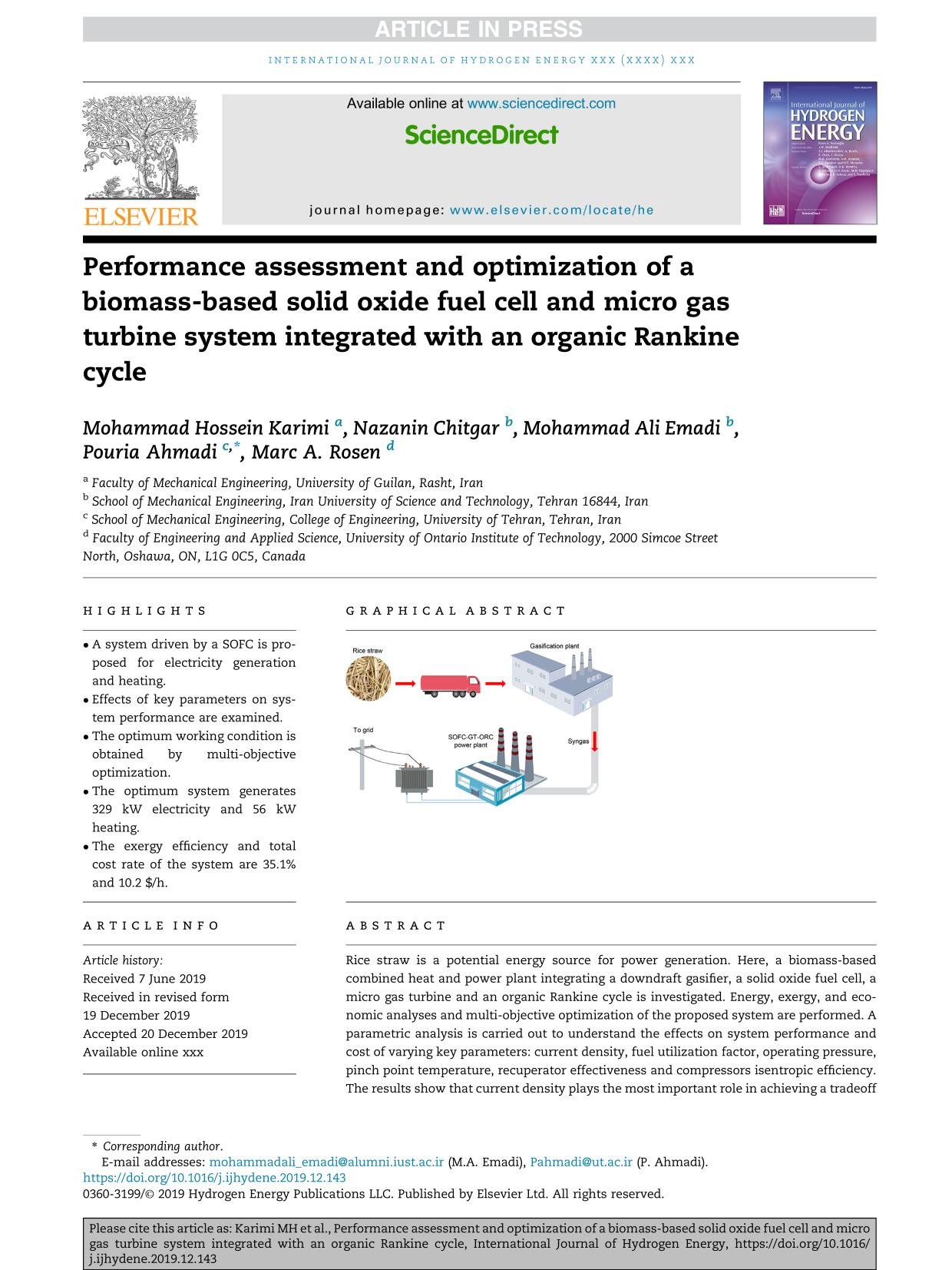 पुस्तक आवरण Performance assessment and optimization of a biomass-based solid oxide fuel cell and micro gas turbine system integrated with an organic Rankine cycle