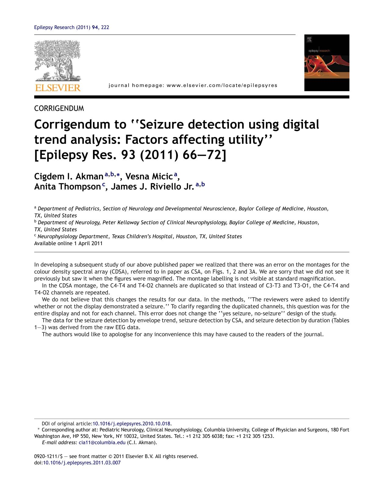 "หน้าปก Corrigendum to ""Seizure detection using digital trend analysis: Factors affecting utility"" [Epilepsy Res. 93 (2011) 66–72]"