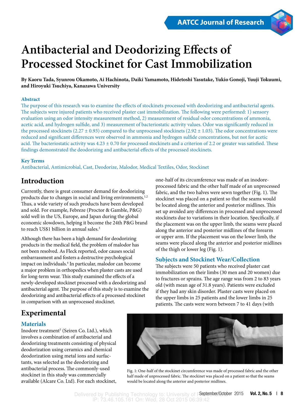 पुस्तक आवरण Antibacterial and Deodorizing Effects of Processed Stockinet for Cast Immobilization