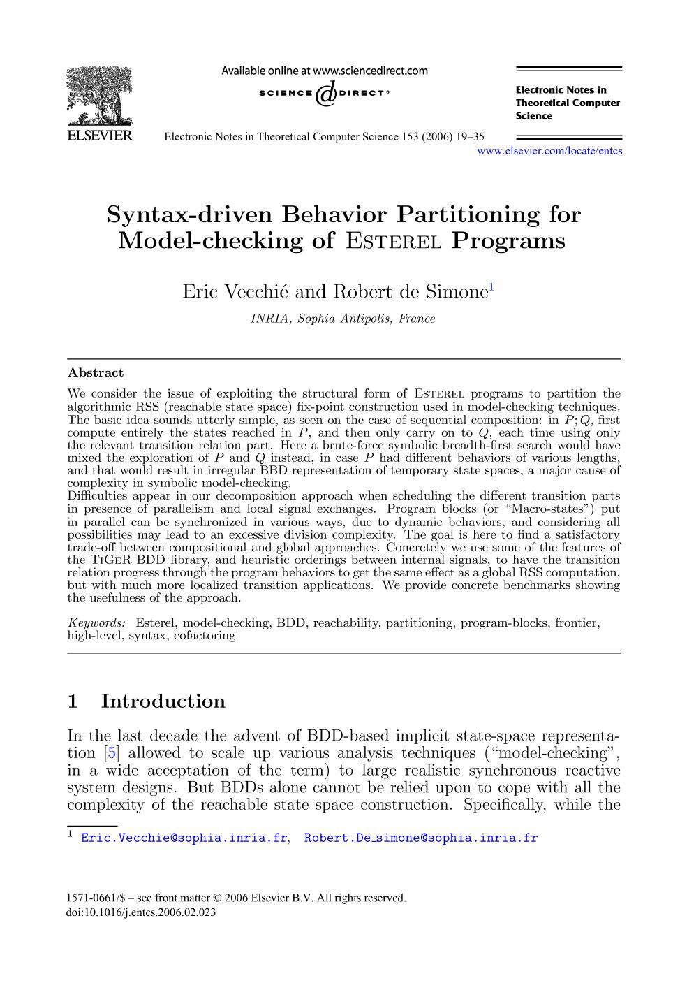 Κάλυψη βιβλίων Syntax-driven Behavior Partitioning for Model-checking of Esterel Programs