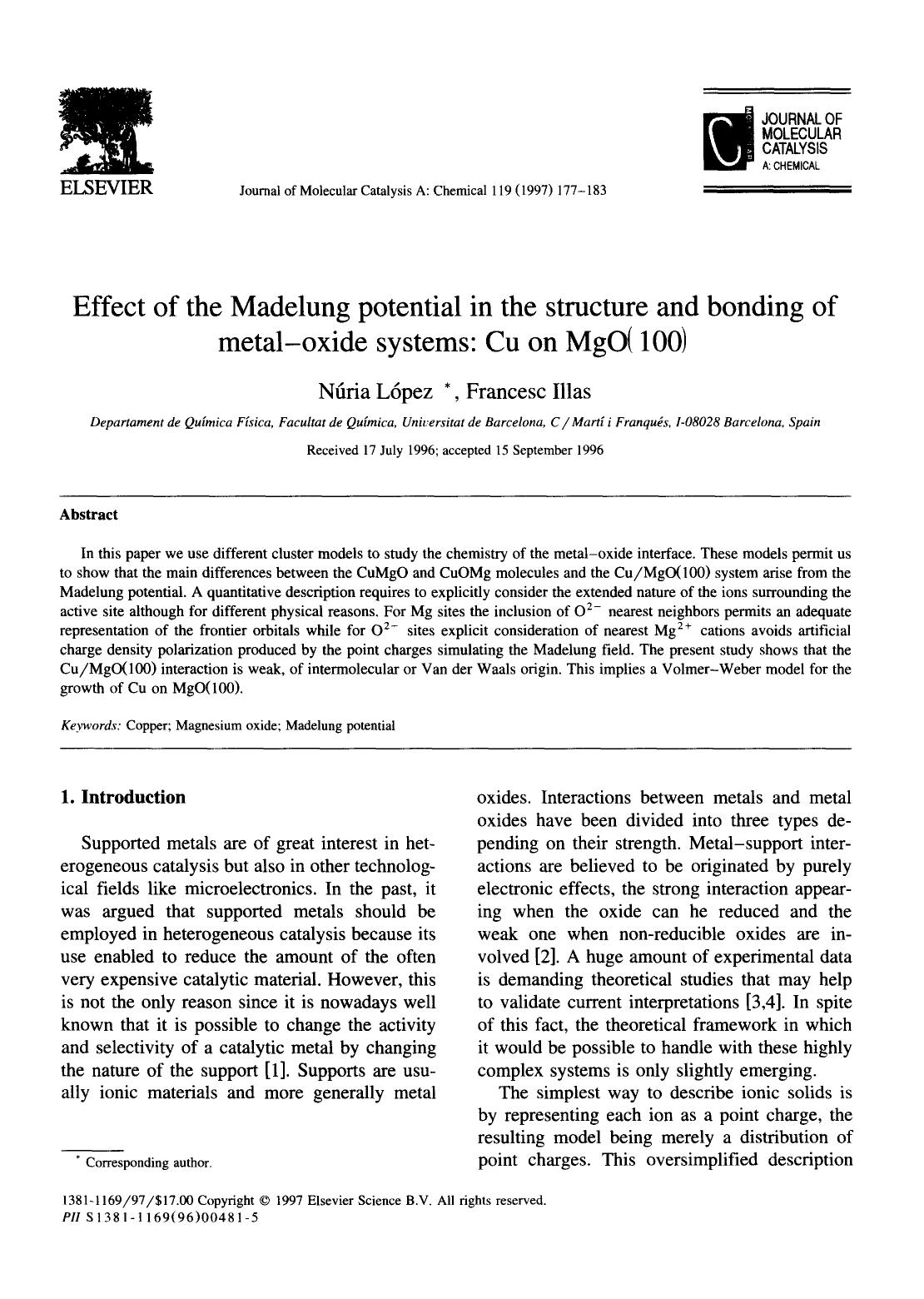 表紙 Effect of the Madelung potential in the structure and bonding of metal-oxide systems: Cu on MgO(100)