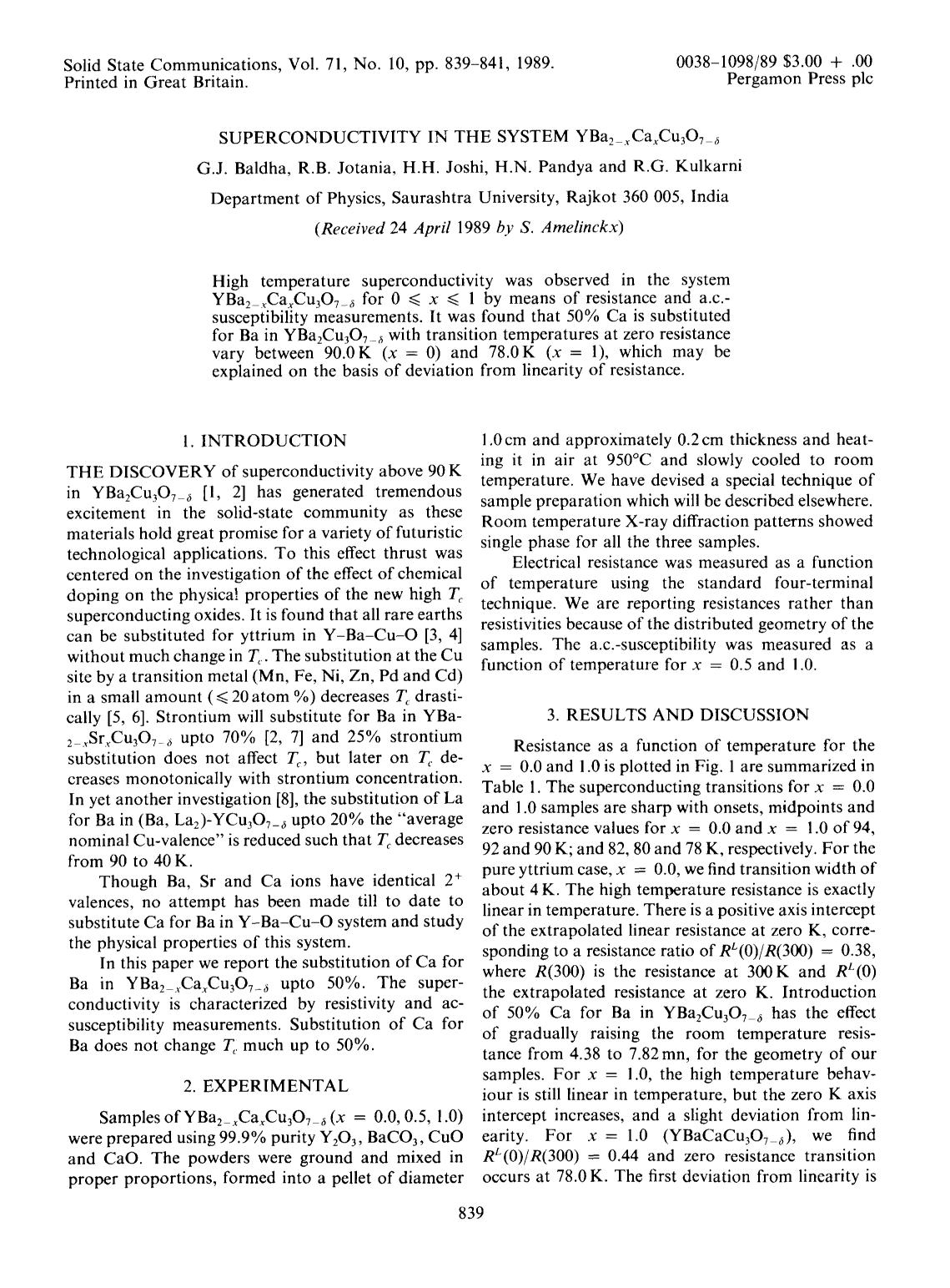 書籍の表紙 Superconductivity in the system YBa2−xCaxCu3O7−δ