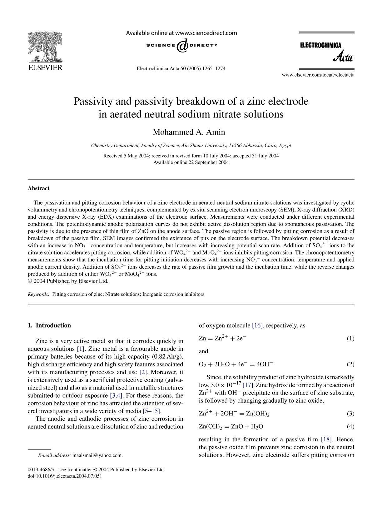 Portada del libro Passivity and passivity breakdown of a zinc electrode in aerated neutral sodium nitrate solutions