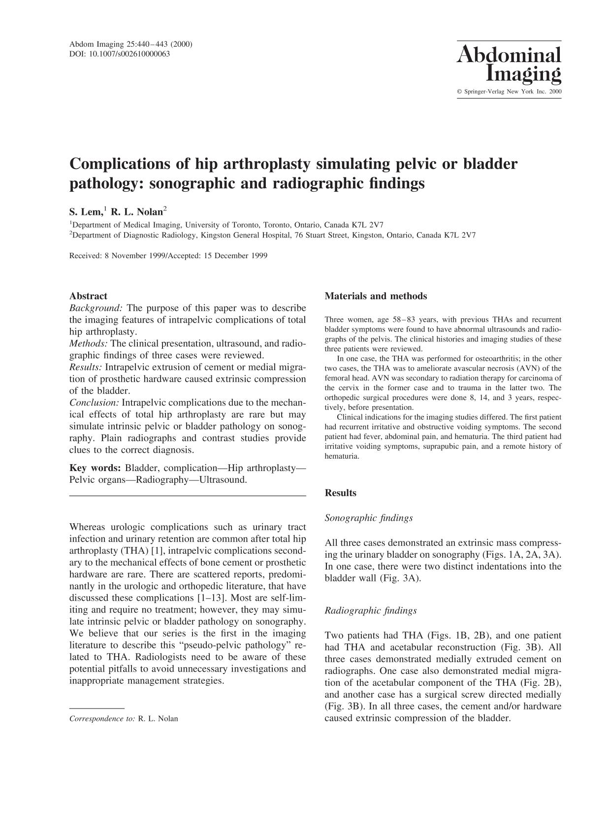 पुस्तक आवरण Complications of hip arthroplasty simulating pelvic or bladder pathology: sonographic and radiographic findings