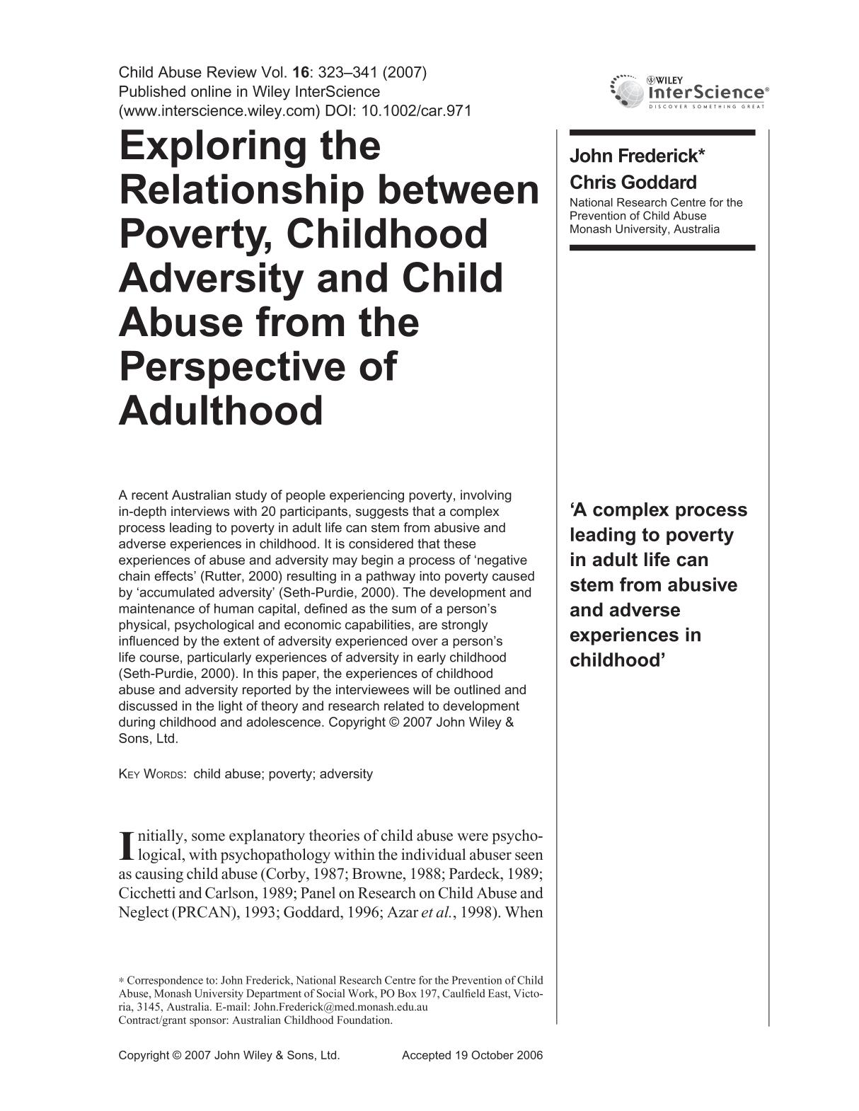 Portada del libro Exploring the relationship between poverty, childhood adversity and child abuse from the perspective of adulthood