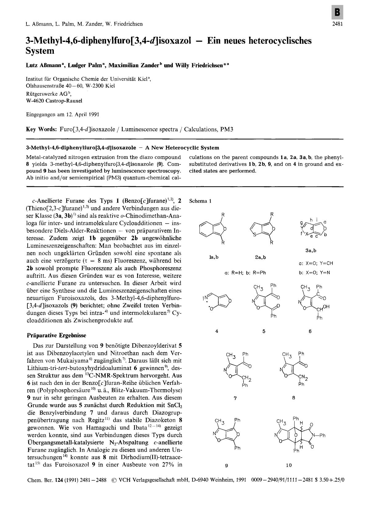 पुस्तक कवर 3-Methyl-4,6-diphenylfuro[3,4-<em>d</em>]isoxazol – Ein neues heterocyclisches System