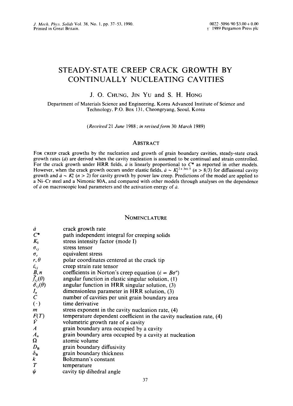 Book cover Steady-state creep crack growth by continually nucleating cavities