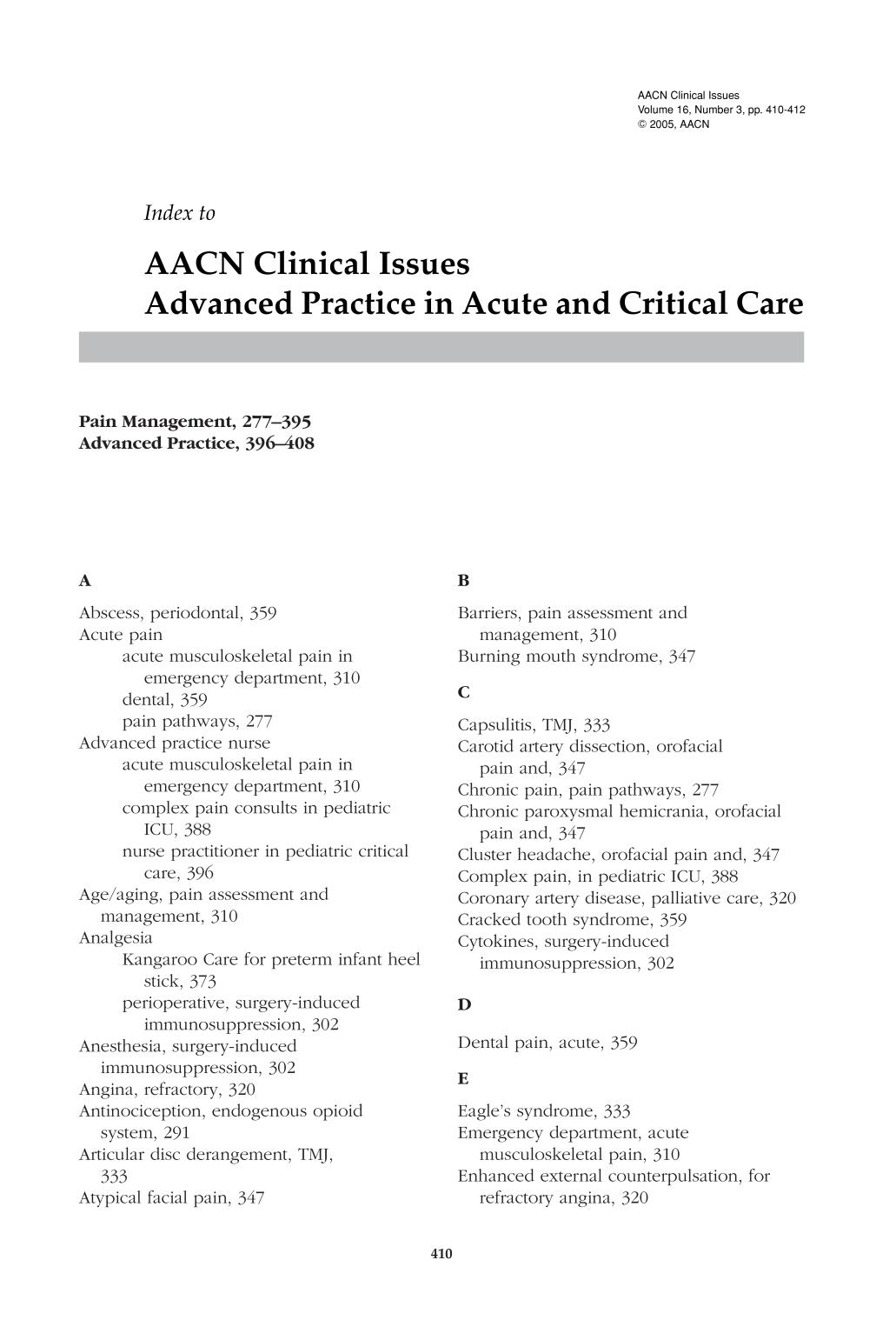 Обкладинка книги Index to AACN Clinical Issues Advanced Practice in Acute and Critical Care