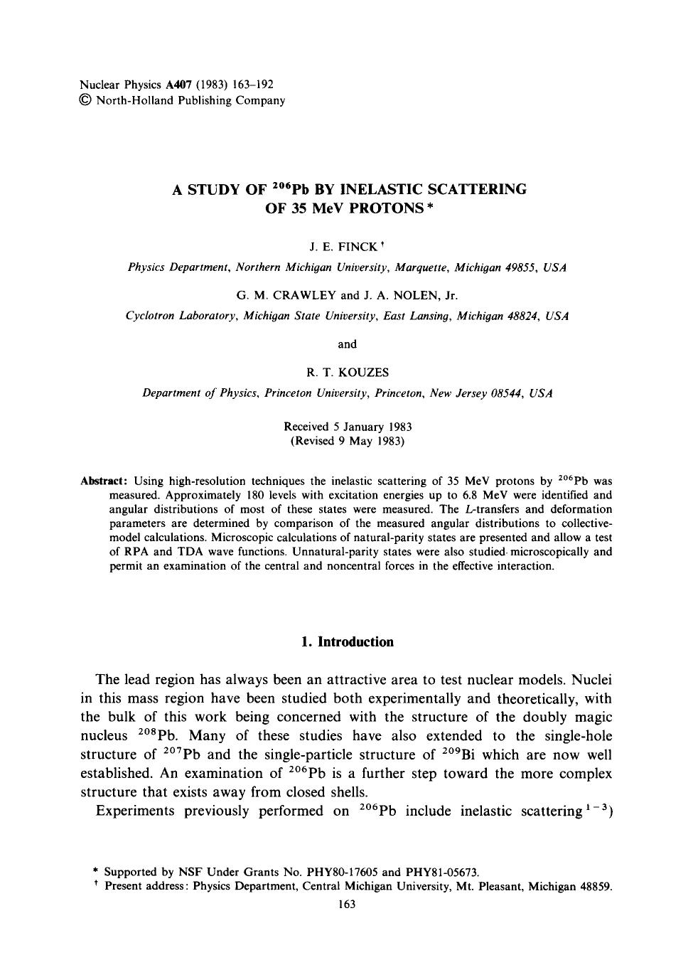 Book cover A study of 206Pb by inelastic scattering of 35 MeV protons