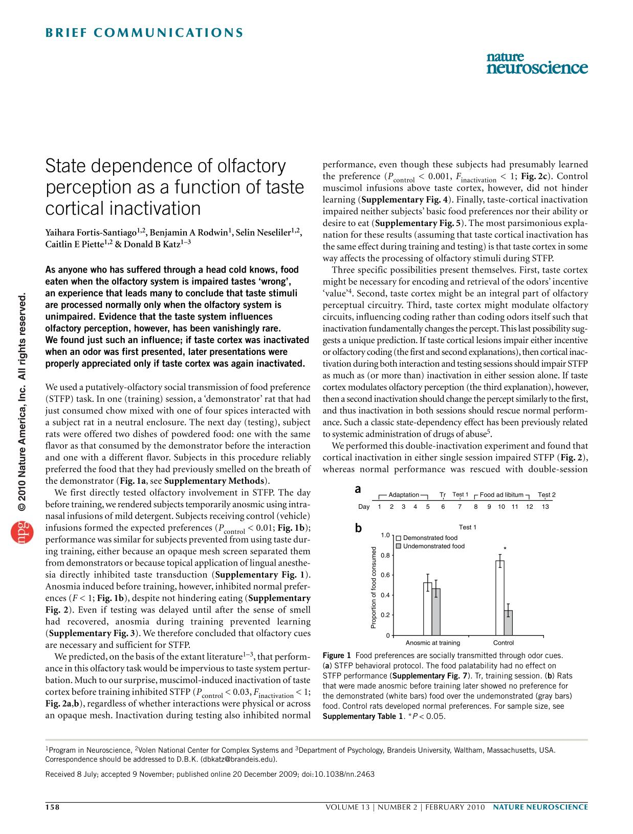 Portada del libro State dependence of olfactory perception as a function of taste cortical inactivation