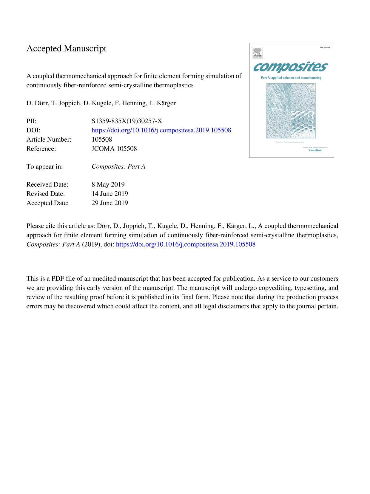 Book cover A coupled thermomechanical approach for finite element forming simulation of continuously fiber-reinforced semi-crystalline thermoplastics
