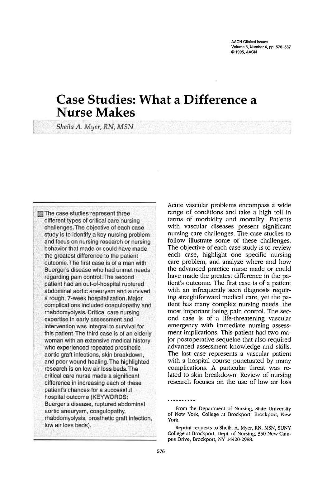 Couverture Case Studies: What a Difference a Nurse Makes