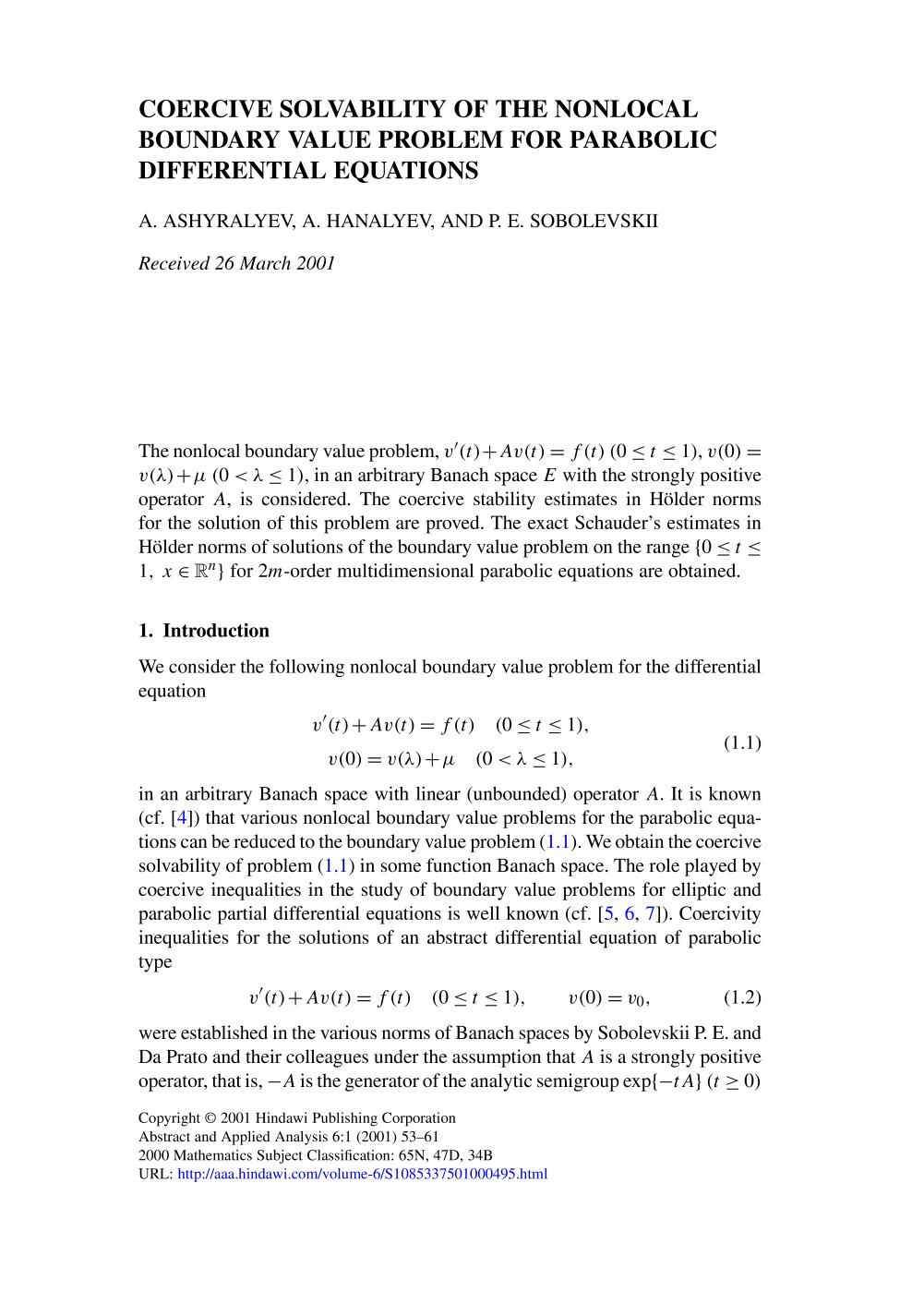 Обкладинка книги Coercive solvability of the nonlocal boundary value problem for parabolic differential equations