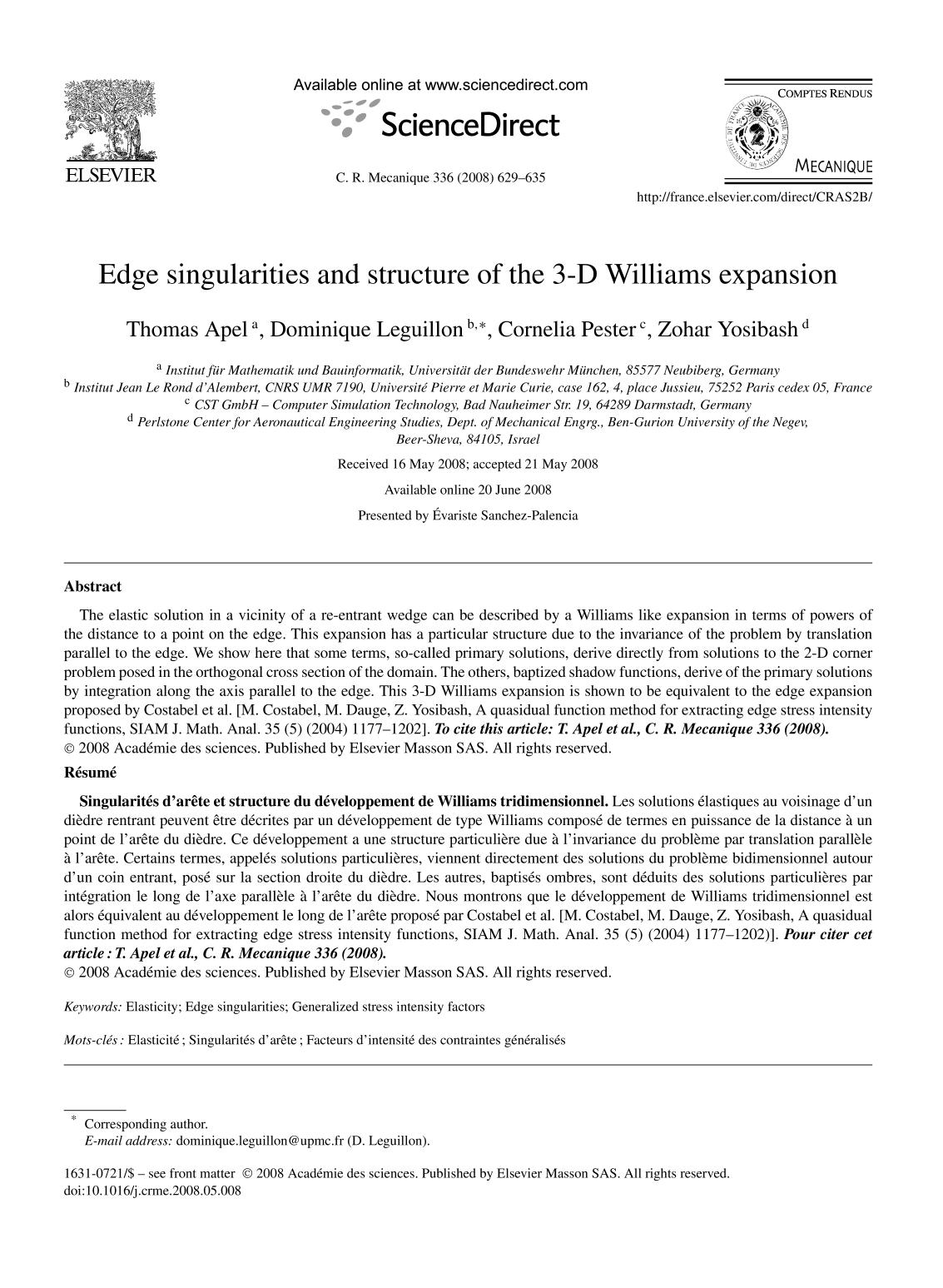 Обкладинка книги Edge singularities and structure of the 3-D Williams expansion