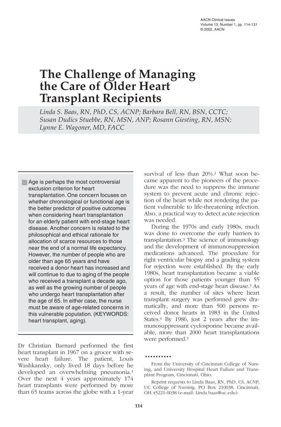 Kover buku The Challenge of Managing the Care of Older Heart Transplant Recipients