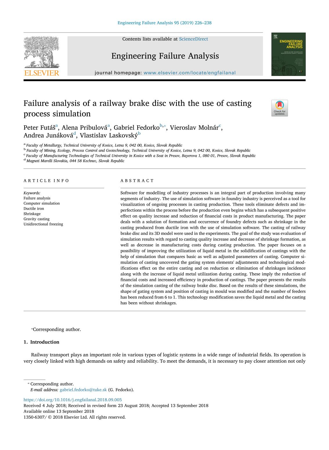 Book cover Failure analysis of a railway brake disc with the use of casting process simulation