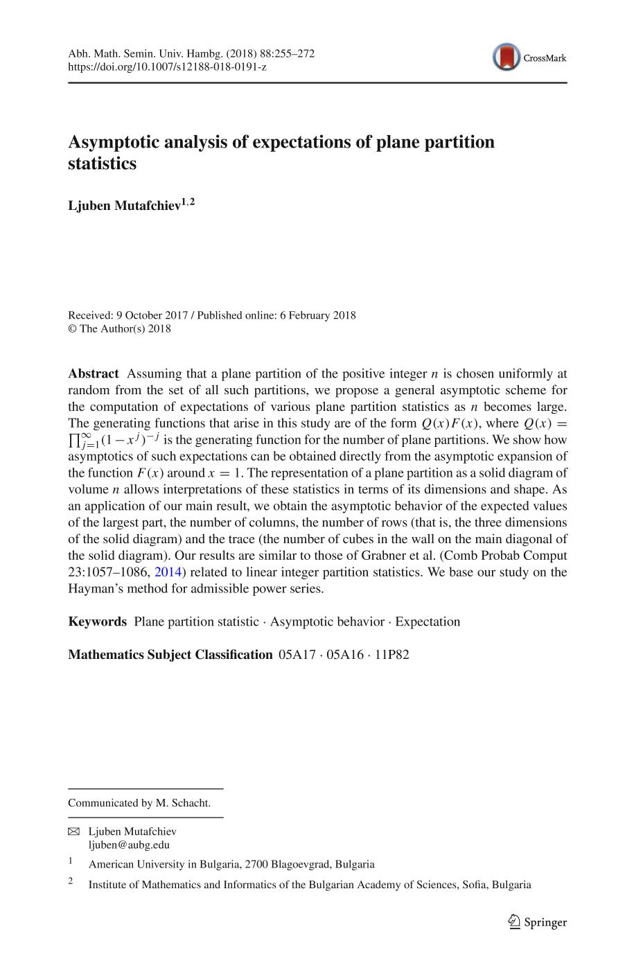 Book cover Asymptotic analysis of expectations of plane partition statistics