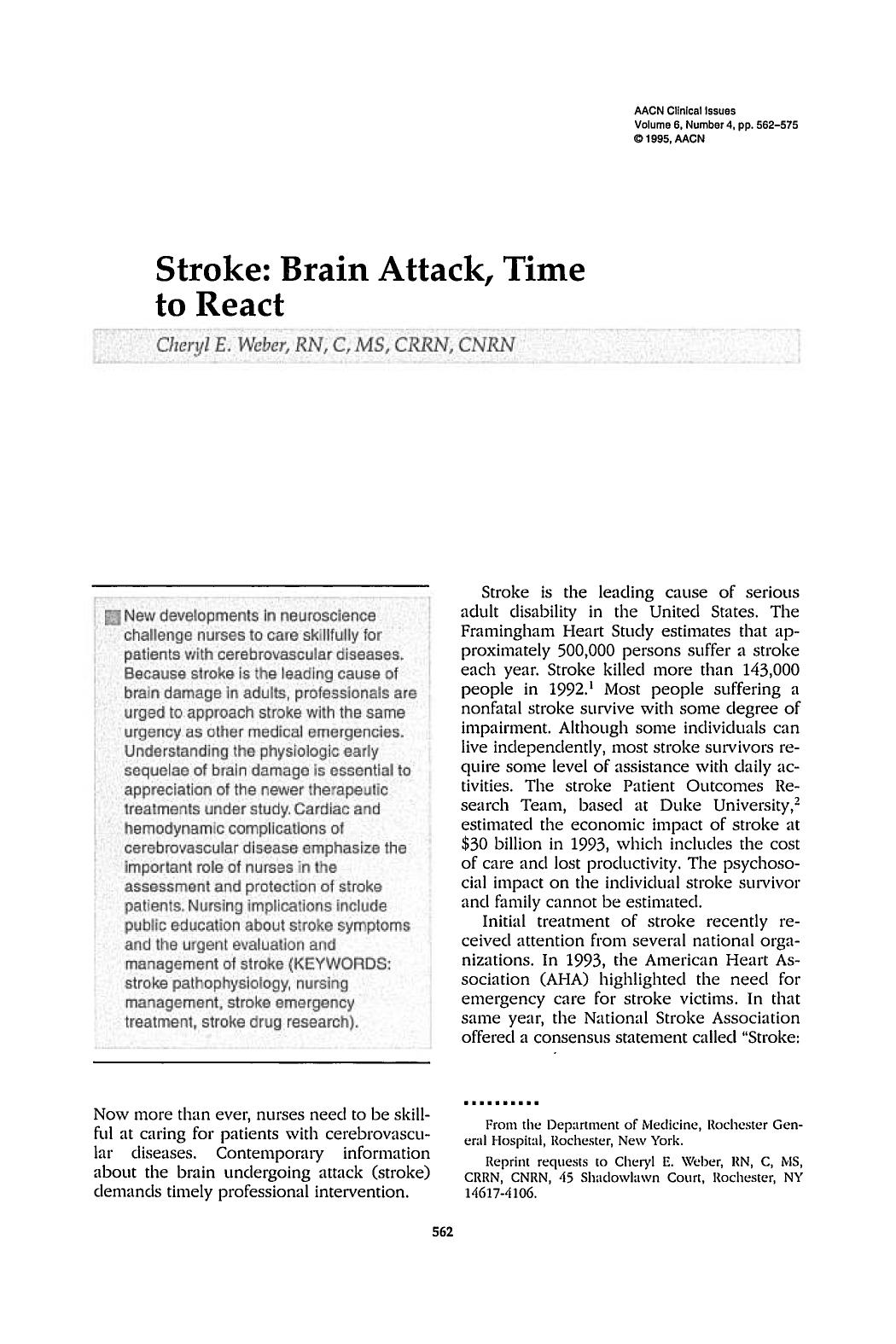 पुस्तक आवरण Stroke: Brain Attack, Time to React