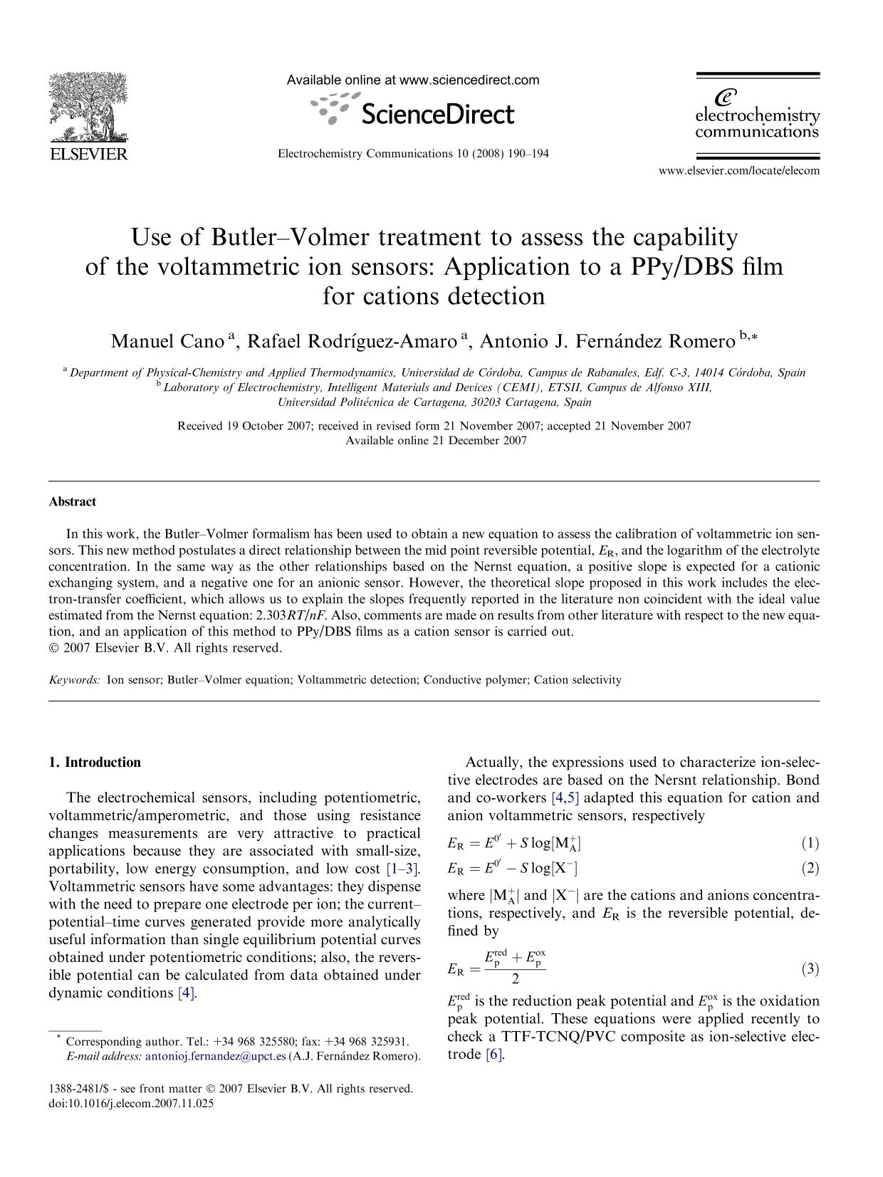 Обкладинка книги Use of Butler–Volmer treatment to assess the capability of the voltammetric ion sensors: Application to a PPy/DBS film for cations detection