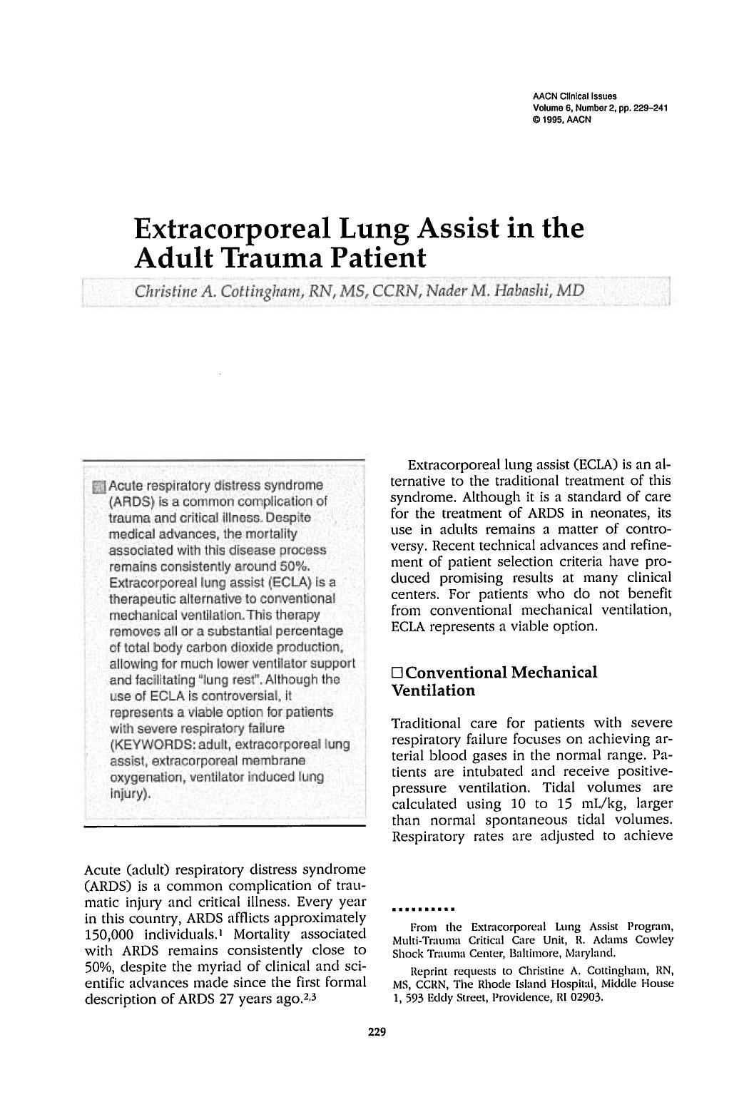 Couverture du livre Extracorporeal Lung Assist in the Adult Trauma Patient